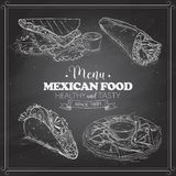 Scetch of mexican food menu on a black board Stock Image