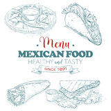 Scetch mexican food menu Royalty Free Stock Photo