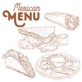 Scetch of mexican food Stock Images