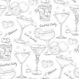 Scetch pattern unforgettables cocktails Royalty Free Stock Photos