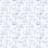 Scetch pattern unforgettables cocktails Royalty Free Stock Image