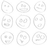 Scetch smile set vector Stock Photo
