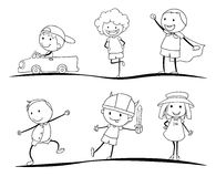 Scetches of kids Royalty Free Stock Photos