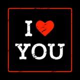 Schäbige Aufschrift im Rahmen ich liebe dich mit Herzen im Stil des Schmutzes und der Weinlese Grußkarte für Valentinstag, vektor abbildung