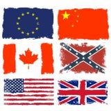 Schäbige Flaggen von Kanada, von China, von verbündeter Armee, von Europäischer Gemeinschaft, von Großbritannien und von USA Lizenzfreies Stockfoto