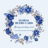 Schäbige schicke mit Blumenkarte Stockfotografie
