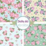 Schäbige schicke Rose Patterns Gesetztes nahtloses Muster Lizenzfreie Stockfotos