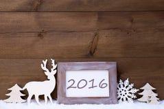 Schäbige schicke Weihnachtskarte mit 2016 Stockfotos