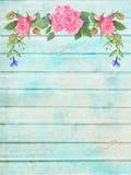 Schäbiger schicker hölzerner Hintergrund mit Blumenvignette Stockfoto