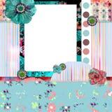 Schäbiges Blumenfoto-Feld/Scrapbooking Hintergrund Lizenzfreie Stockbilder