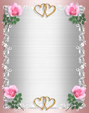 Schäbiges Chic des Hochzeitseinladung Rosa-Satins Lizenzfreies Stockbild