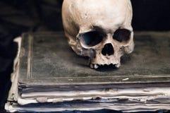 Schädel auf einem alten Buch Stockbild