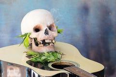 Schädel auf Gitarre und grünem Hanf-Blatt Stockfotografie