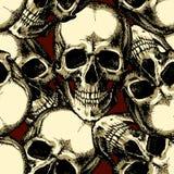 Schädel auf nahtlosem Muster des roten Hintergrundes Stockbilder