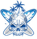 Schädel auf Surfbrett Lizenzfreies Stockbild