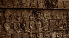 Schädel, der auf einer Wand im Yucatan-Dschungel schnitzt Lizenzfreie Stockbilder