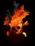 Schädel in der Flamme stockbild