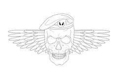 Schädel in einem Barett mit Flügeln Lizenzfreies Stockbild