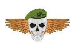Schädel in einem grünen Barett mit Flügeln Stockfotos