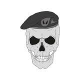 Schädel in einem schwarzen Barett Stockfoto
