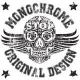 Schädel-einfarbiges College-Mann-Jungen-T-Shirt Design Stock Abbildung