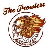 Schädel in Flammen Radfahrer-Verein Emblem Stockfotos
