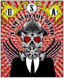 Schädel-Gasmaske-Plakat-Mann-T-Shirt Grafikdesign Lizenzfreie Abbildung