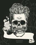 schädel Hippie-Schädelschattenbild mit dem Schnurrbart, Bart, Tabakpfeifen und Gläsern Schwarzes zu beschriften ist nicht, Schwar stock abbildung