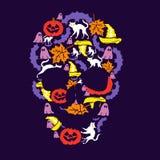 Schädel, Illustration des Tages von Halloween Lizenzfreie Stockbilder