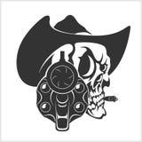 Schädel im Cowboy Hat And Gun Lizenzfreies Stockfoto