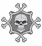 Schädel im Knochenrahmen Lizenzfreie Stockbilder