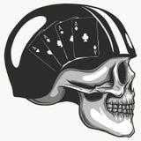 Schädel im Sturzhelm mit Retro- Rennläufergläsern Auch im corel abgehobenen Betrag vektor abbildung