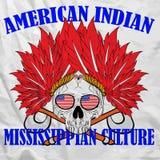 Schädel-indisches Spaß-Mann-T-Shirt grafisches Vektor-Design Stock Abbildung