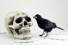 Schädel, Krähe, Halloween-Fahne Stockfotos