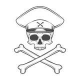 Schädel mit allgemeinem Hut und den Querknochen Totes verrücktes Stockfoto