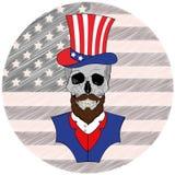 Schädel mit Bart im amerikanischen Hut, am 4. Juli Lizenzfreies Stockfoto