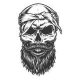 Schädel mit Bart und dem Schnurrbart vektor abbildung