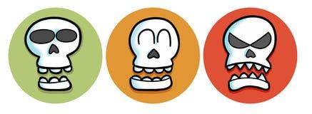 Schädel mit dem drei Farbhintergrund u. -ausdruck Stockfoto