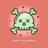 Schädel mit gekreuzter Knochenikone, flaches Design zeichnen dünn Halloween b Stockfoto