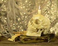 Schädel mit Kerze auf Buch Lizenzfreies Stockfoto