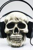 Schädel mit Kopfhörern Stockfotografie