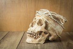 Schädel mit Seilstillleben auf hölzernem Hintergrund Stockfoto