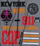 Schädel-New- Yorkspaß-Mann-T-Shirt Grafikdesign Lizenzfreie Abbildung