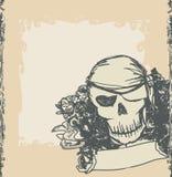 Schädel-Pirat - Retro- Karte lizenzfreie abbildung