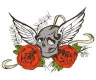 Schädel Rose lizenzfreie abbildung