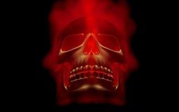 Schädel schaut oben im bunten Feuer Teuflischer Anblick Erschrecken von Halloween-Bild Stockbild