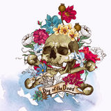 Schädel-und Blumen-Vektor-Illustration Stockfotografie