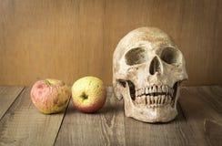 Schädel- und Brandwundenfruchtstillleben auf hölzernem Hintergrund Lizenzfreie Stockbilder