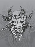 Schädel und Flügel Stockbild