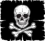 Schädel und gekreuzte Knochen über schwarzer Flagge Stockbild